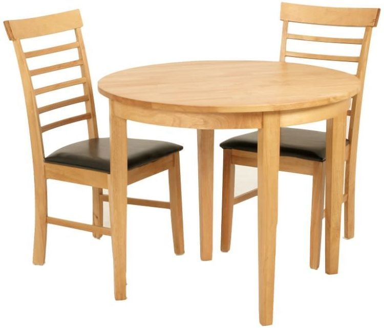 Hanover Light Oak Round Extending Half Moon Dining Table And 2 Chairs