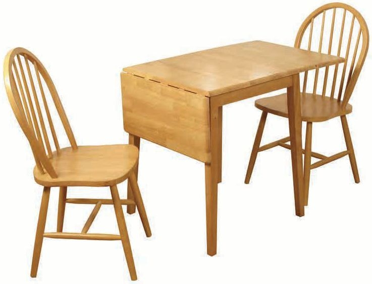 Honeymoon Drop Leaf Rectangular Dining Set with 2 Spindleback Dining Chairs - 65cm-120cm