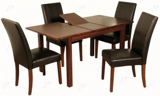 Hartford Acacia 4ft Dining Set with 4 Brown Chairs