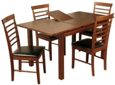 Hartford Acacia Dining Set - 4ft Extending with 4 Hanover Dark Dining Chairs