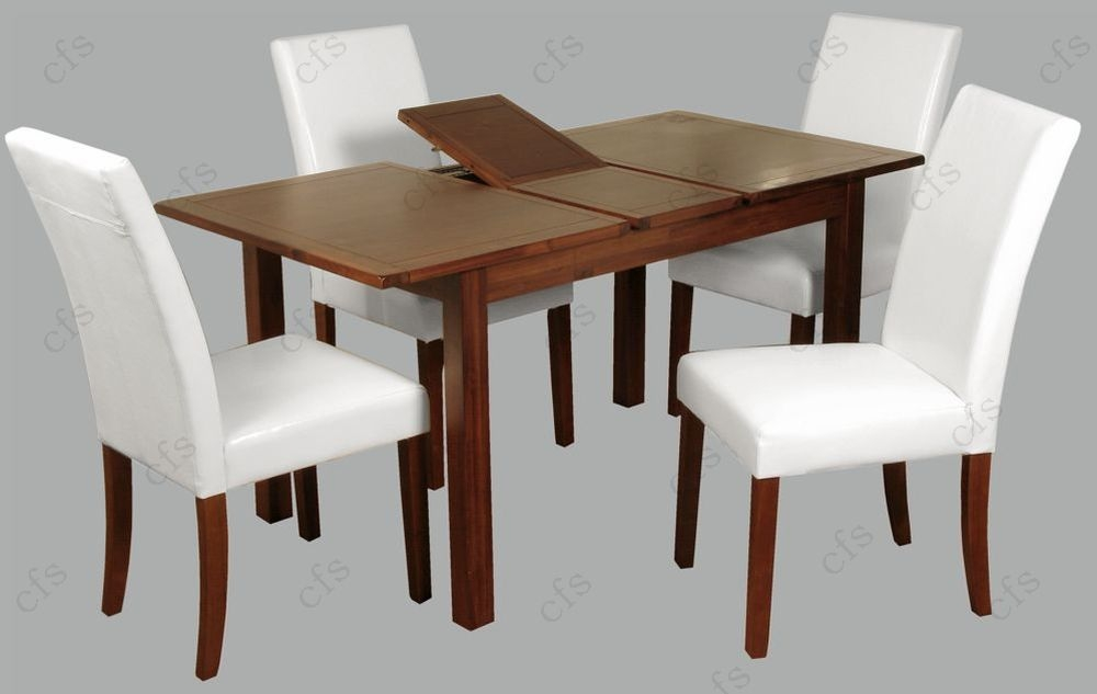 Hartford Acacia 4ft Dining Set with 4 White Chairs