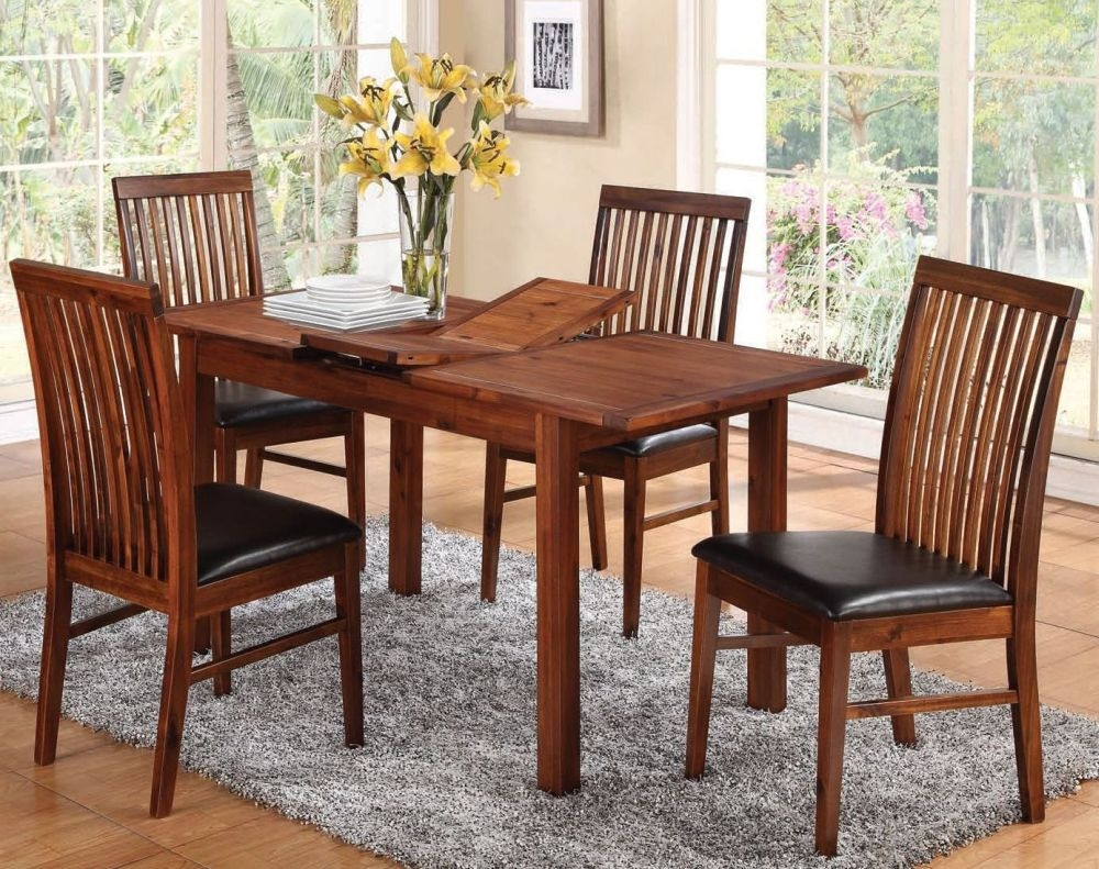 Hartford Acacia Butterfly Extending Dining Table and 4 Strathmore Chairs