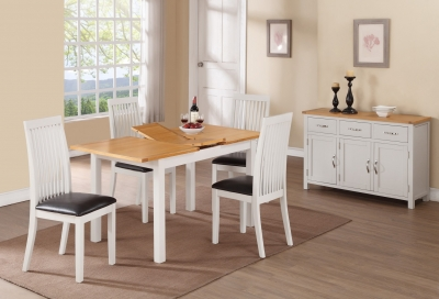 Hartford Extending Dining Table and 6 Chairs - Oak and Painted