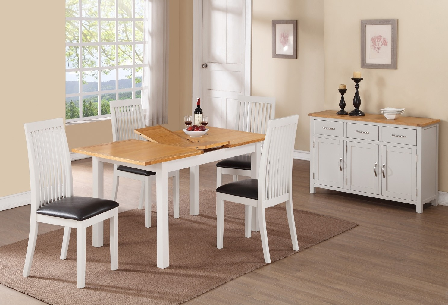 Hartford Painted Rectangular Extending Dining Set with 6 Chairs - 120cm-150cm