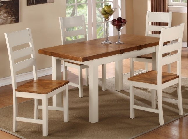 Heritage Stone Painted Rectangular Butterfly Extending Dining Set with 4 Ladder Back Chairs - 120cm-150cm