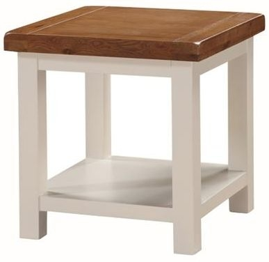 Heritage Stone Painted End Table with Shelf