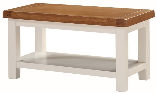 Heritage Stone Painted Small Coffee Table with Shelf