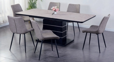 Imperia Light Grey Tufftop Extending Dining Table and 6 Chairs