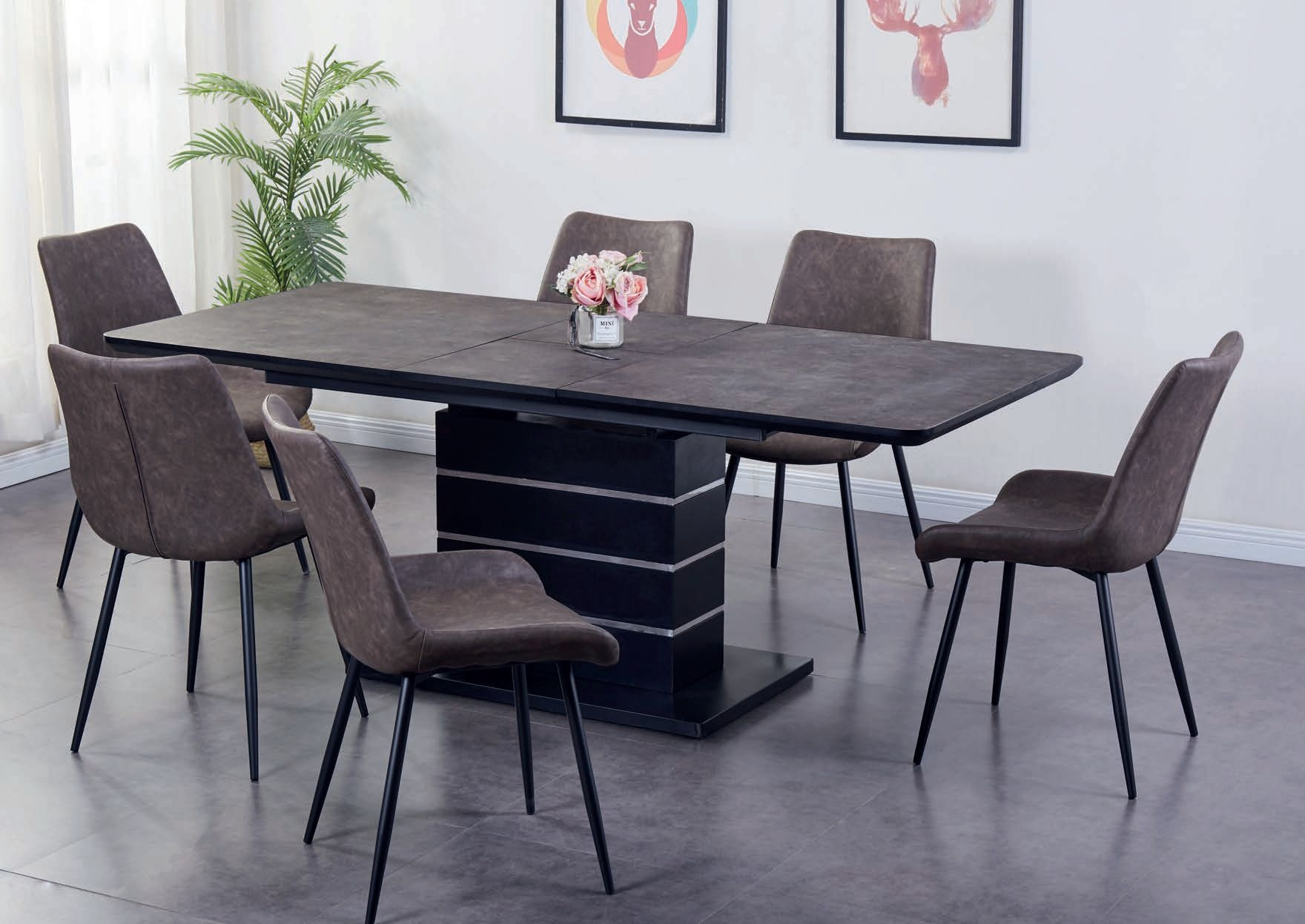 Imperia Dark Brown Tufftop Extending Dining Table