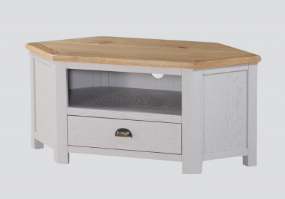Kilmore Corner TV Unit - Oak and Grey Painted