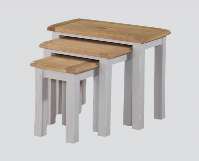 Kilmore Nest of Tables - Oak and Grey Painted