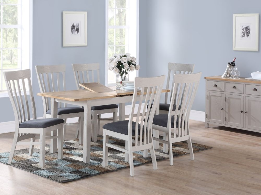 Kilmore Extending Dining Table and 4 Chairs  - Oak and Grey Painted