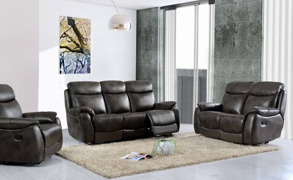 Leyton Grey Leather Recliner Sofa Suite