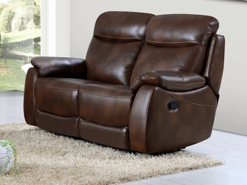 Leyton Tan Leather 2 Seater Recliner Sofa