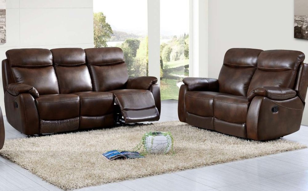 Leyton Tan Leather 3+2 Recliner Sofa Suite