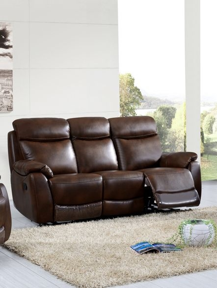 Leyton Tan Leather 3 Seater Recliner Sofa