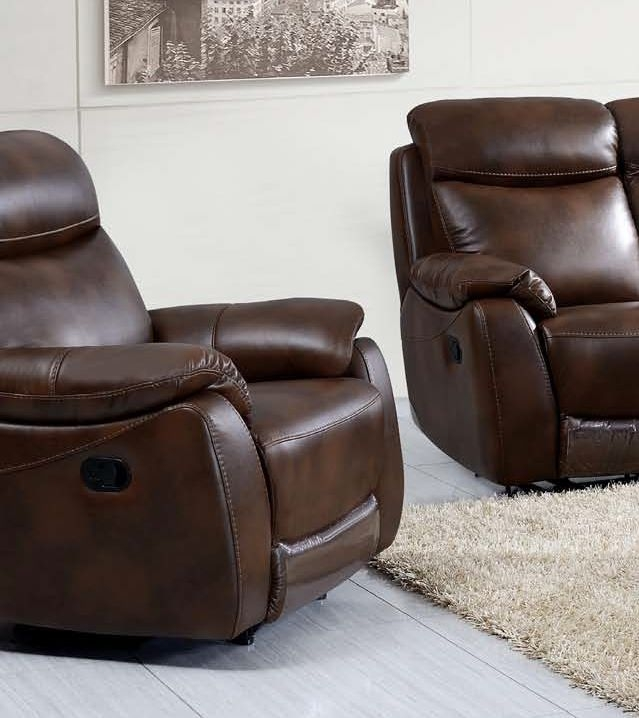 Leyton Tan Leather Recliner Sofa Armchair