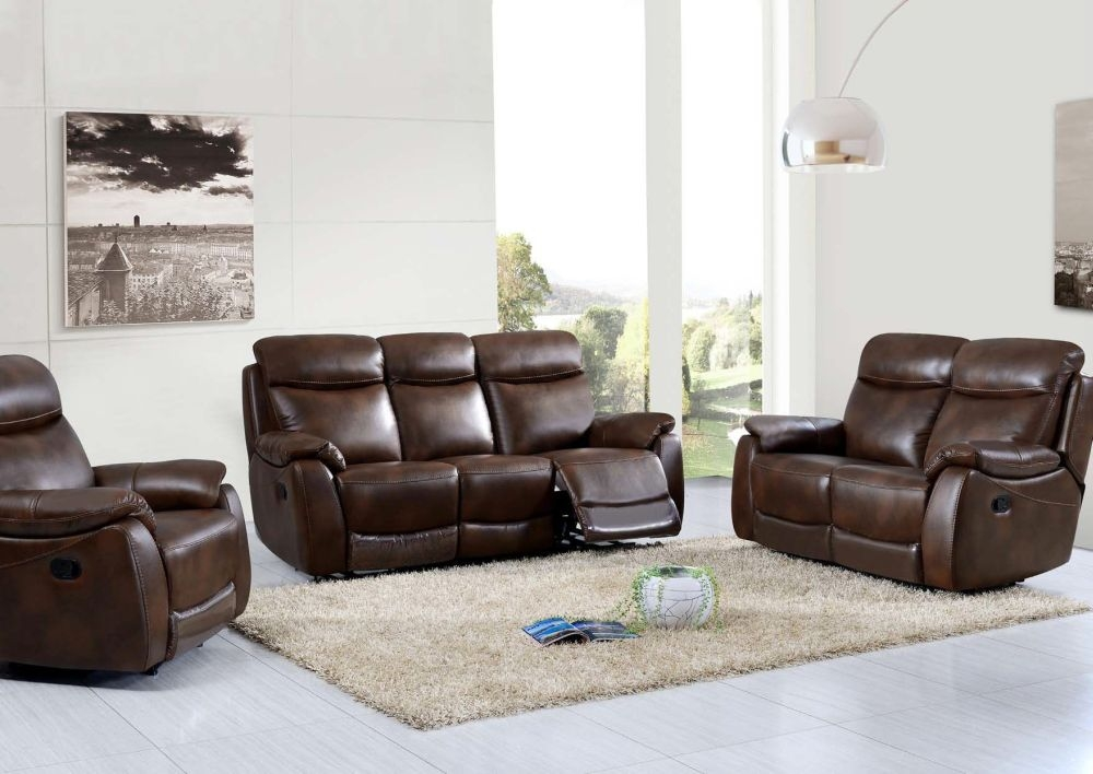 Leyton Tan Leather Recliner Sofa Suite