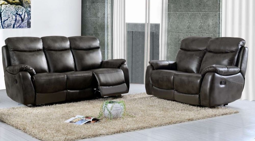 Leyton Grey Leather 3+2 Recliner Sofa Suite