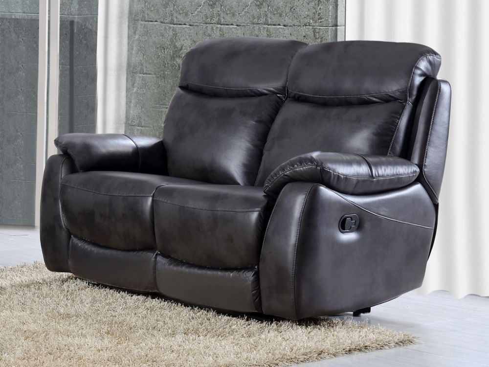 Leyton Grey Leather 2 Seater Recliner Sofa
