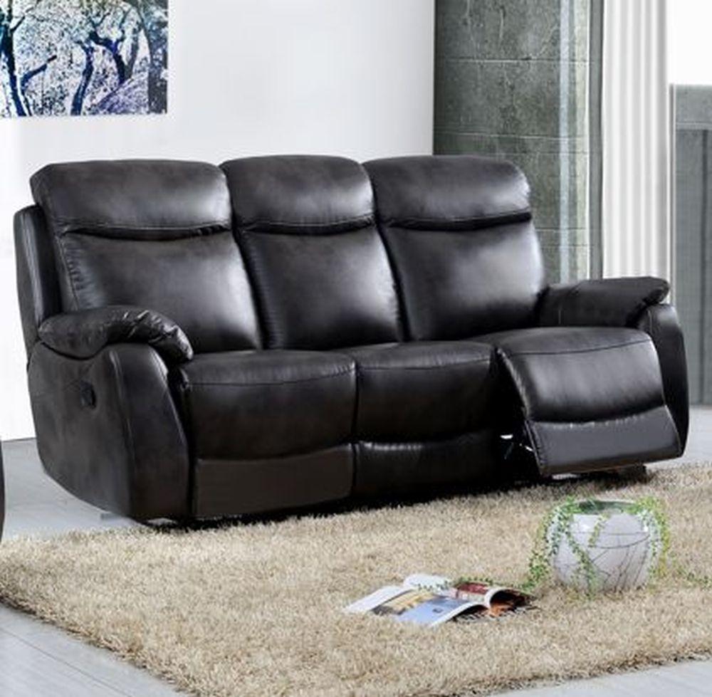 Leyton Grey Leather 3 Seater Recliner Sofa
