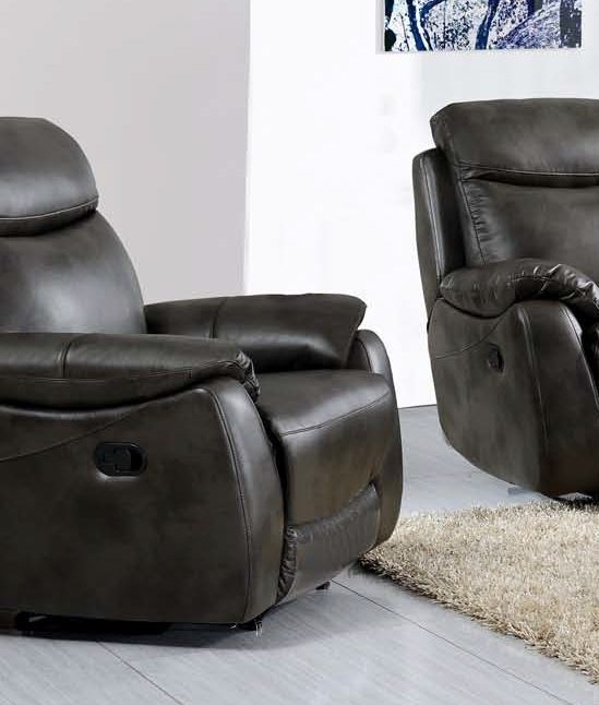 Leyton Grey Leather Recliner Sofa Armchair