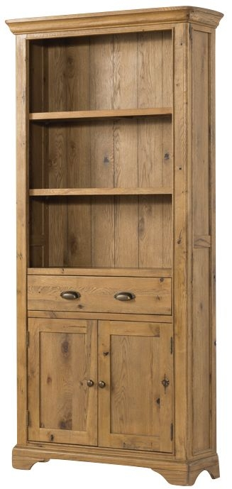 Lyon Solid Oak 2 Door 1 Drawer Large Bookcase