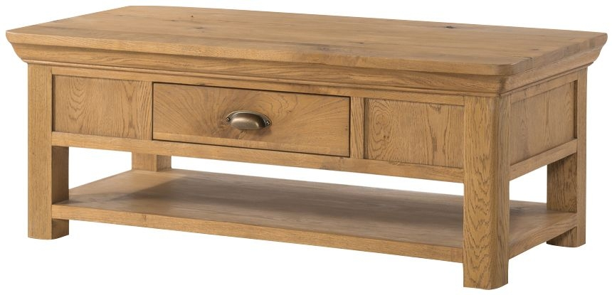 Lyon Solid Oak 1 Drawer Storage Coffee Table