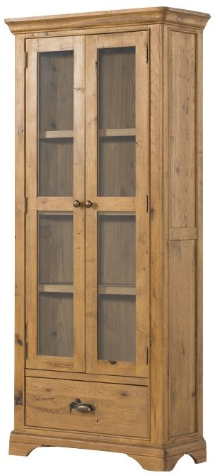 Lyon Solid Oak 2 Door 1 Drawer Display Cabinet