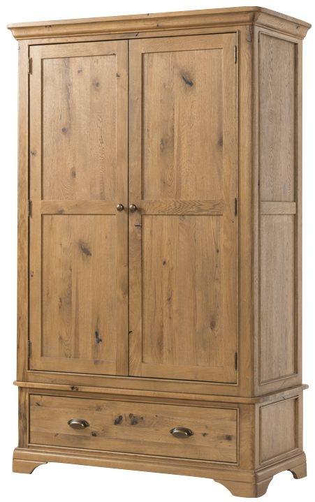 Lyon Solid Oak 2 Door 1 Drawer Double Wardrobe