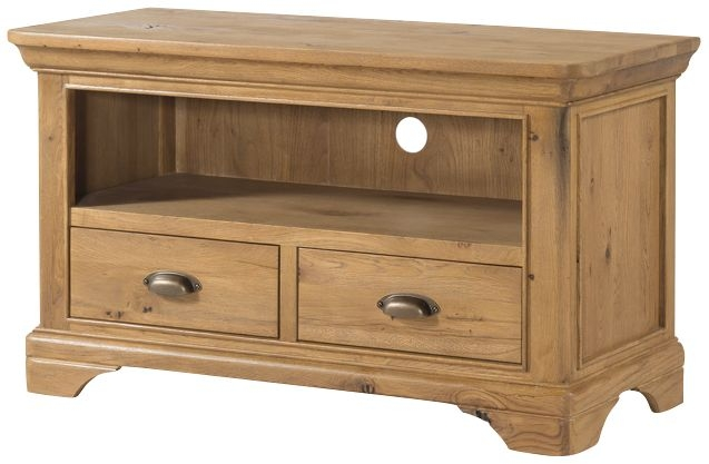 Lyon Solid Oak 2 Drawer Standard TV Unit