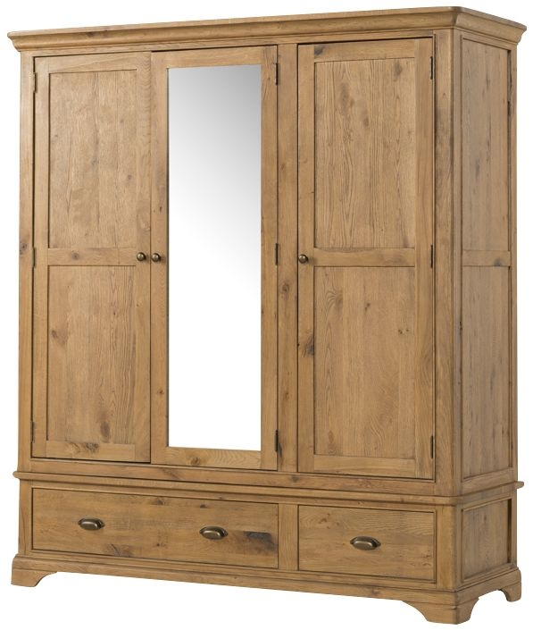 Lyon Solid Oak 3 Door 3 Drawer Triple Wardrobe