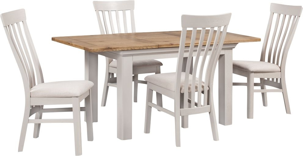 Lyon 140cm Dining Table and 6 Chairs - Oak and Painted