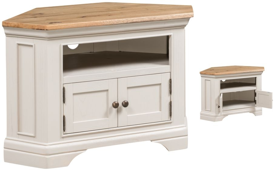 Lyon Corner TV Unit - Oak and Painted