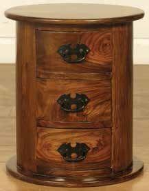Madras Dark Drum Chest of Drawer - 3 Drawer