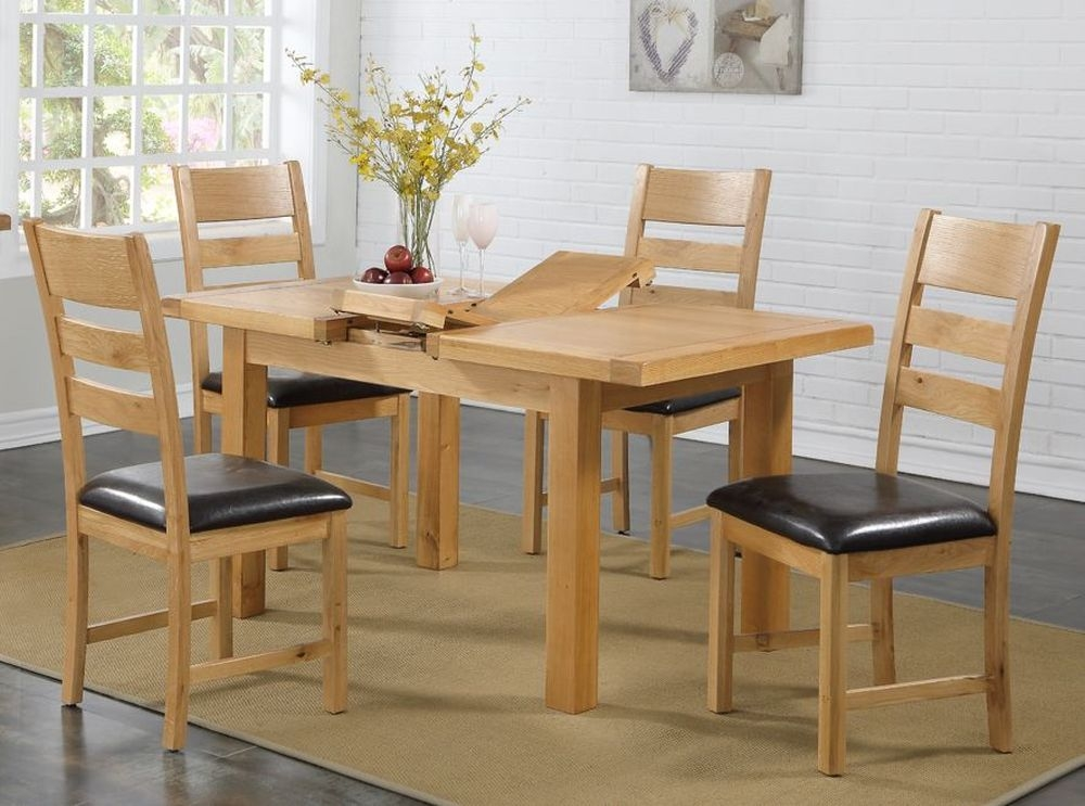 Newbridge Oak Butterfly Extending Dining Table and 4 Chairs