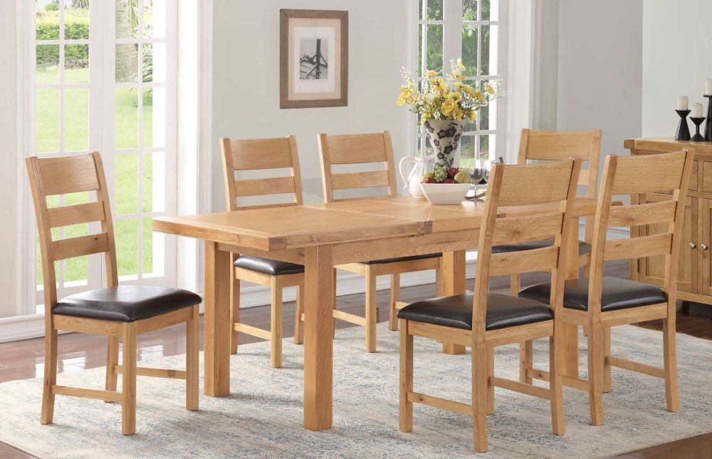Newbridge Oak Butterfly Extending Large Dining Table and 6 Chairs
