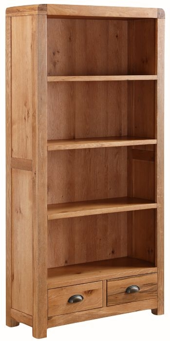 Oakridge Solid Oak 2 Drawer High Bookcase