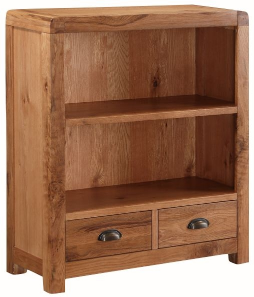Oakridge Solid Oak 2 Drawer Low Bookcase