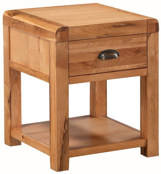 Oakridge Solid Oak 1 Drawer Lamp Table