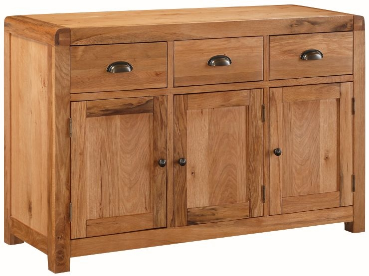 Oakridge Solid Oak 3 Door 3 Drawer Sideboard