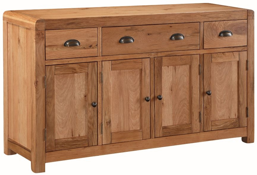 Oakridge Solid Oak 4 Door 3 Drawer Sideboard