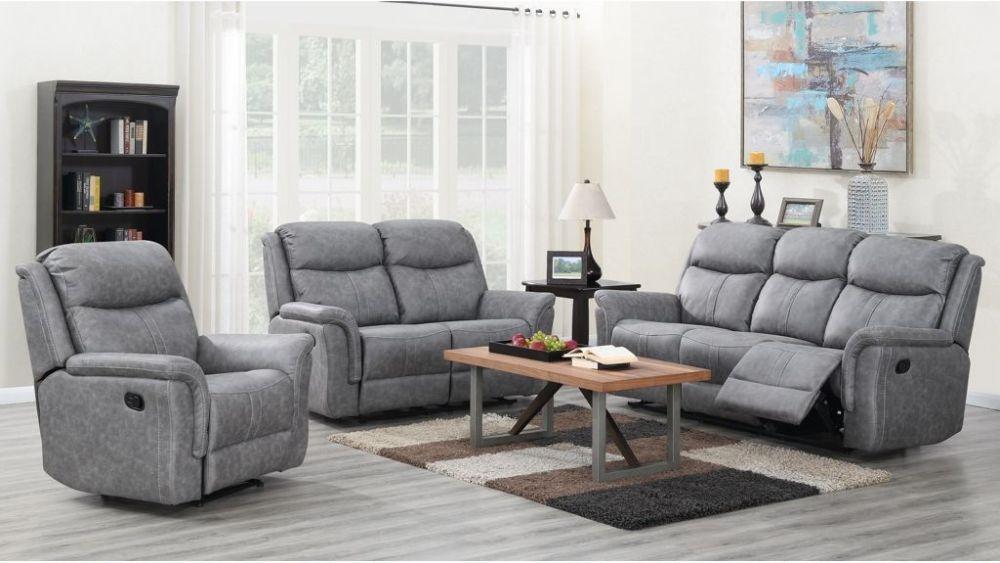 Portland Silver Grey Recliner Sofa