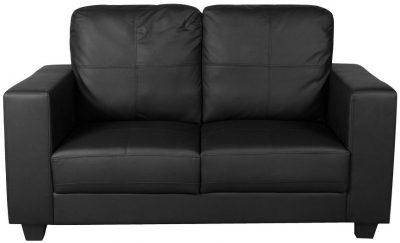 Queensbury Black Faux Leather 2 Seater Sofa
