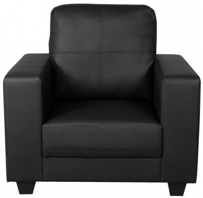 Queensbury Black Faux Leather Armchair