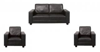 Queensbury Black Faux Leather 3+1+1 Suite