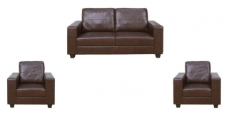 Queensbury Brown Faux Leather 3+1+1 Suite