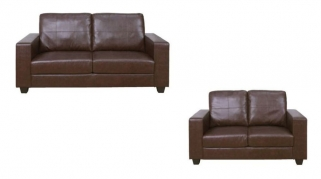 Queensbury Brown Faux Leather 3+2 Suite