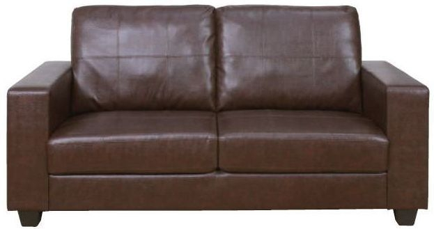 Queensbury Brown Faux Leather 3 Seater Sofa