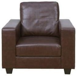 Queensbury Brown Faux Leather Armchair